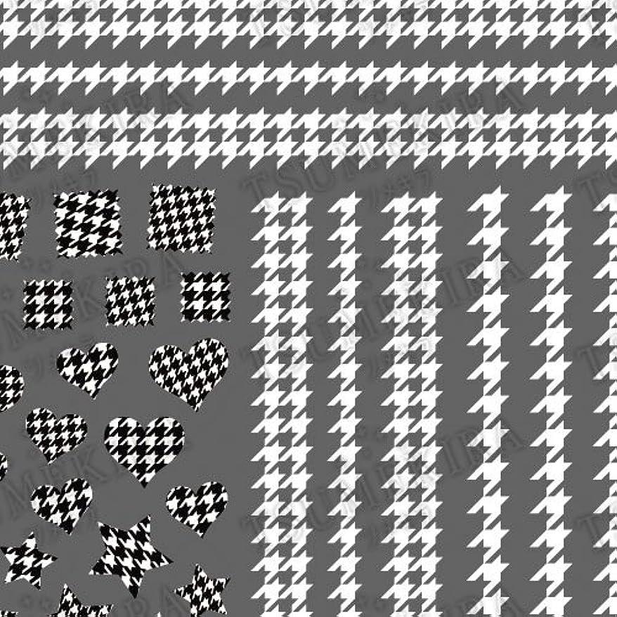 ダウンスティックのりツメキラ ネイル用シール スタンダードスタイル 千鳥格子 ホワイト  NN-TEX-101