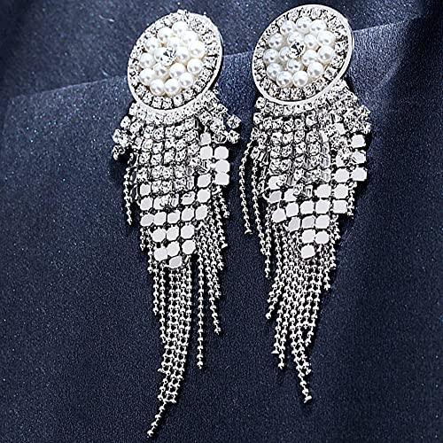 AZPINGPAN Pendientes de Cristal de Perlas de Borla Larga con Aguja de Oreja de Plata esterlina S925, Cara modificada, versión Coreana, Pendientes de Moda, Banquete de Boda para Damas
