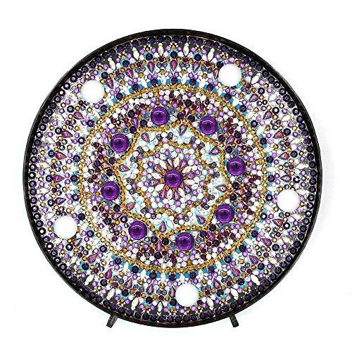 Aeromdale Kit de Flores Con Diseño de Mandala de Diamantes 5d Con Luces Led de Color Blanco Cálido para Dormitorio de Niños Lámpara de Mesa Funciona Con Pilas Color Morado