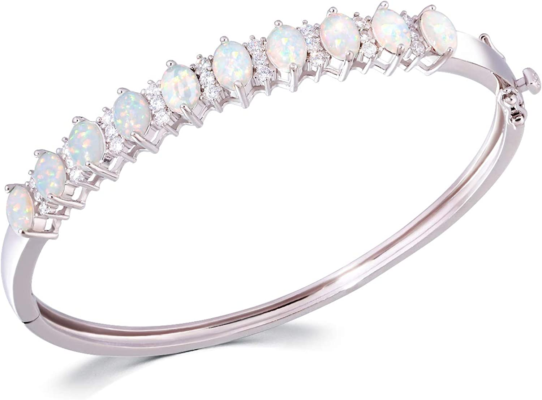 CiNily Opal Bracelets for Women Bead Bangle Bracelet Womens Opal Jewelry Gift 8.38 inch