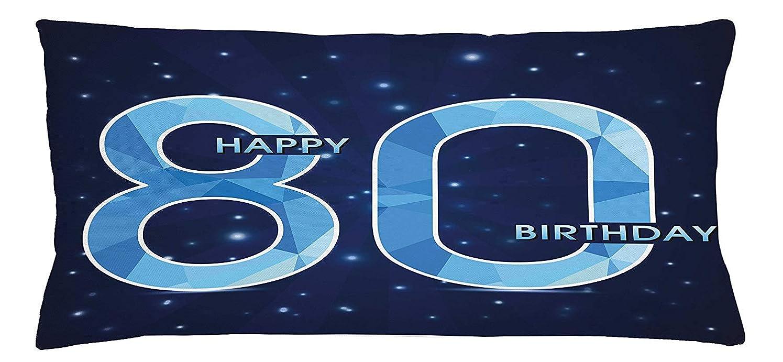 非効率的な数学者明らかに80th Birthday Throw Pillow Cushion Cover, Diamond Age 80 Yeras Old Happy Birthday Party Theme with Stars, Decorative Square Accent Pillow Case, 18 X 18 inches, Navy Blue and Sky Blue