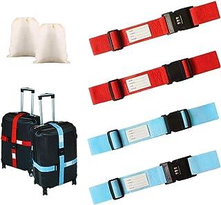6pcs Taille Unique Magarrow Sangles de Bagages r/églables Accessoires de Voyage pour Emballage de Valise de Voyage Boucle Ceinture antid/érapante Black