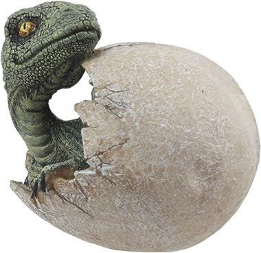 "Ebros Jurassic Era Predator Hatching Dinosaur Egg Figurine 4"" Tall Velociraptor in Egg Hatchling Statue Decor Sculpture A"