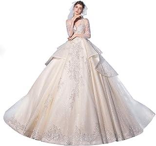 HXiaDyG Vestido de novia de manga larga con cuello en V y malla de lujo para la boda (color: Photo Color, talla: XL)