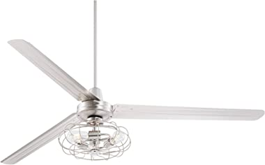 """72"""" Turbina XL Modern Contemporary Ceiling Fan with Light Edison LED Remote Control Vintage Cage Brushed Nickel Silver fo"""