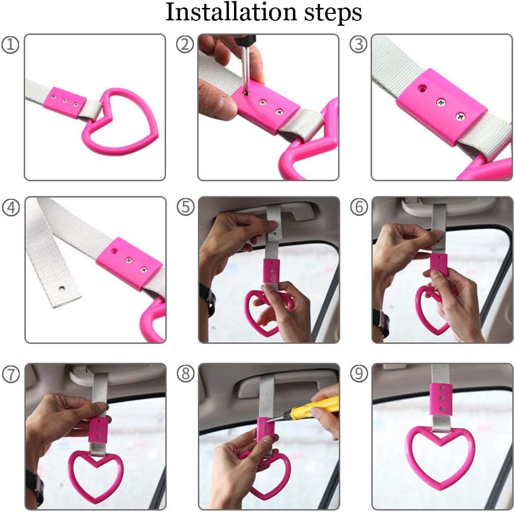 ELESKY JDM Style Tsurikawa Ring Car Hand Strap Decorative Rear Bumper Warning Ring for Car Interior Exterior Decoration Car SUV Bus Handle Hand Strap Drift Charm Heart: White