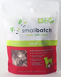 Smallbatch Pets Premium Freeze-Dried Beef Heart Treats for Dogs and Cats, 3.5 oz, Made and Sourced in The USA, Single Ingredient, Humanely Raise Meat, No Preservatives or Anything Artificial Ever