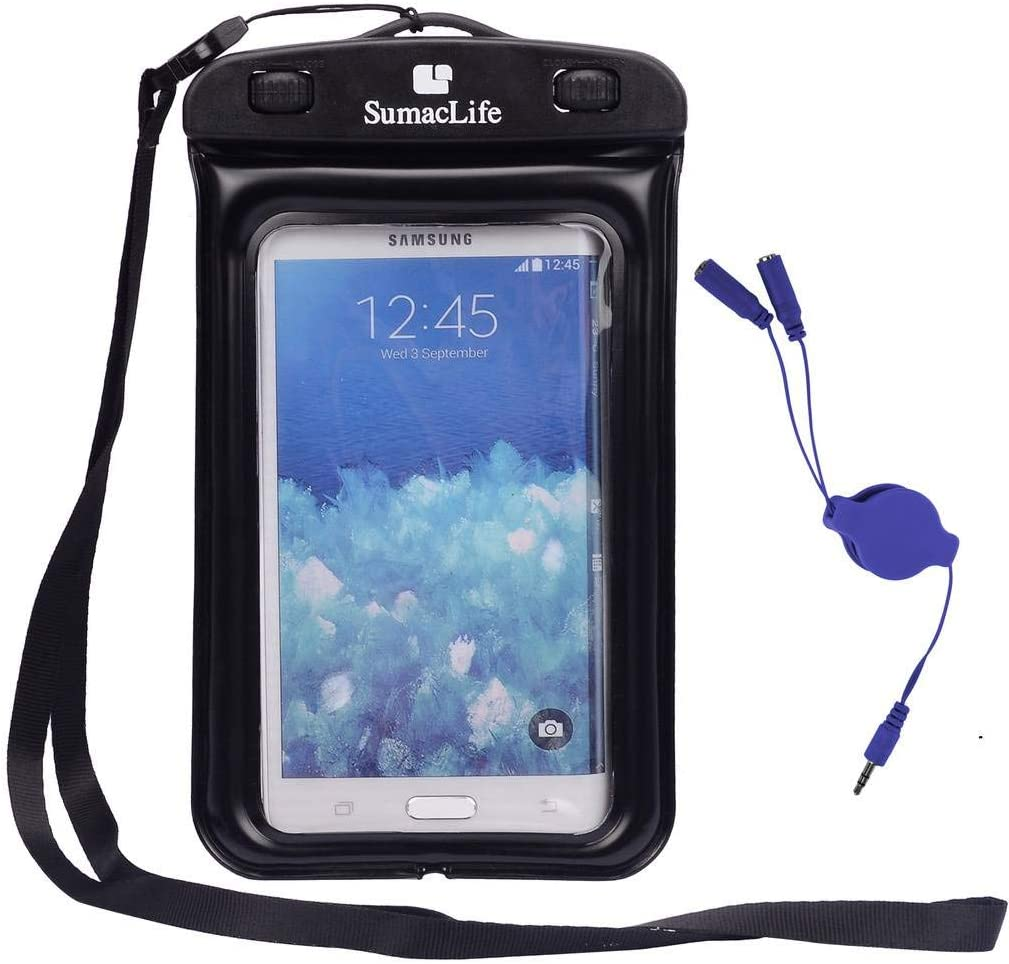Waterproof Case Cellphone Dry Bag with Headphone Splitter Cable for Samsung Galaxy A50s, Note 10, A30s, A10s, A10e, for LG K30, K20, K40S, Prime 2, Aristo 4 Plus, Escape Plus, Arena 2