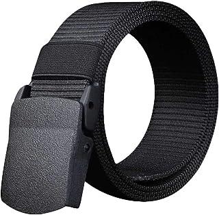 YAOLUU Cinturón de Lona para Hombre Cinturón Informal de Hebilla de plástico no metálico (Color : A, Tamaño : 125cm)