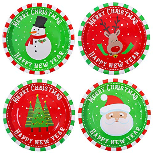 Aneco 60 Pieces Christmas Paper Plates Party Plates Disposable Plates Round Plates Party Supplies for Christmas Party, 9 Inches
