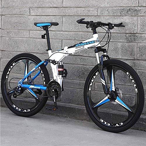 Bicicleta de montaña, Bicicleta de montaña Plegable 21/24/27 Suspensión Velocidad de la Bici Completa del Marco de MTB Plegable 26 Pulgadas de 3 Ruedas de radios (Color : 26 Inch, Size : 27 Speed)