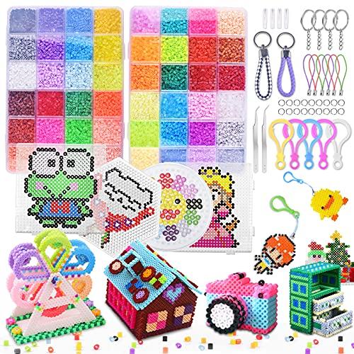 ETEPON 28000 Bügelperlen Set, 2,6 mm 48 Farben Steckperlen mit Stiftplatten und Zubehör, Bastelset Geschenk für Jungen und Mädchen