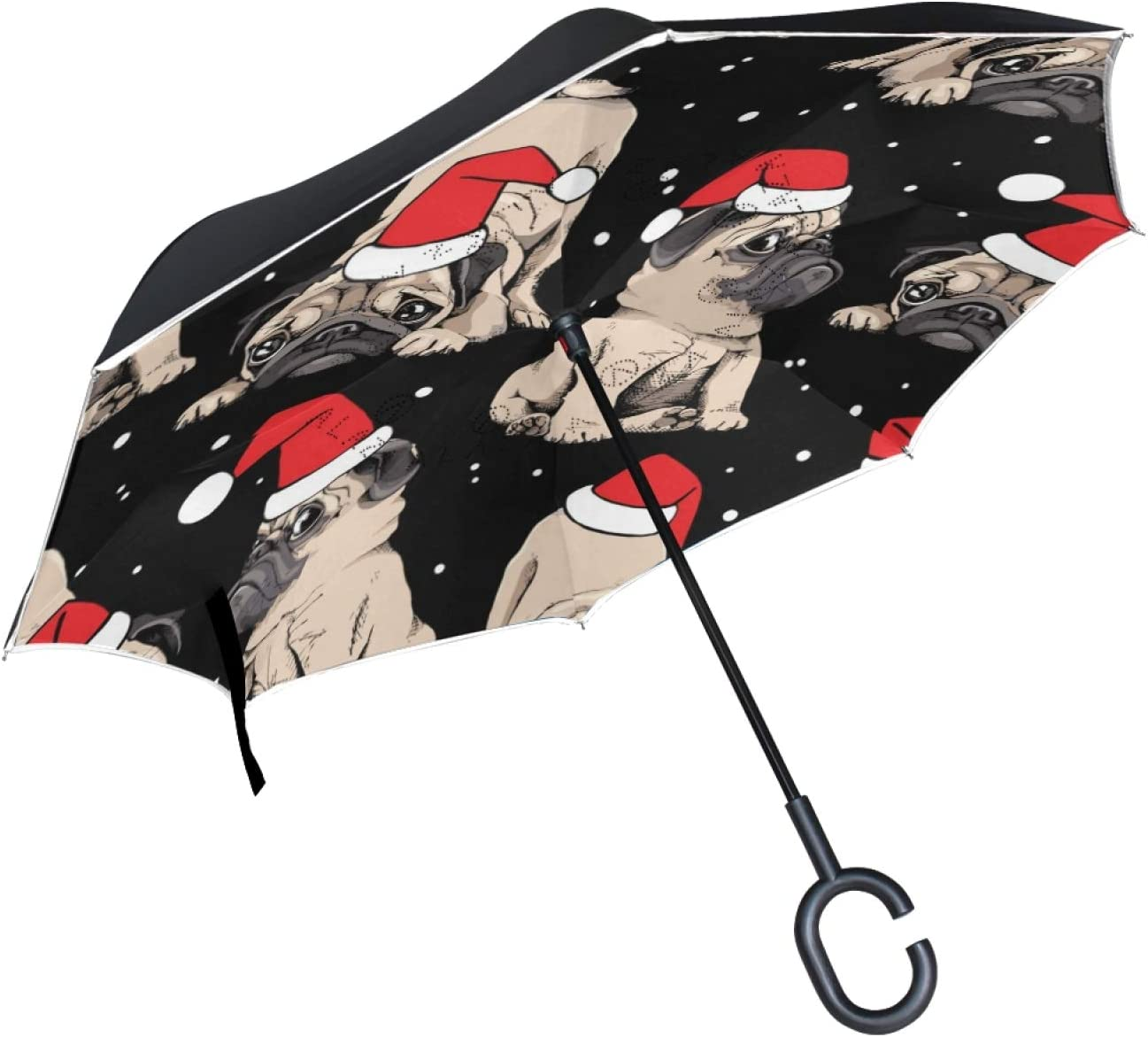 UNISE Christmas Adorable Sales Beige Puppies La Umbrella We OFFer at cheap prices Pugs Inverted