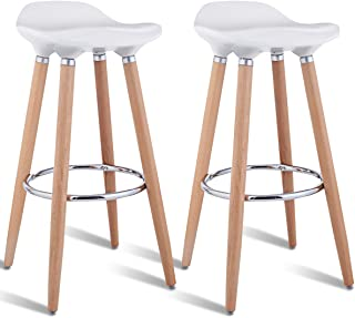 COSTWAY Barstools Set of 2, Modern Comfortable Armless Bar Stool, Counter Height Bistro Pub Side Stools, Backless Barstools with Wooden Legs, for Home & Kitchen (White)