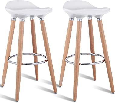 COSTWAY Barstools Set of 2, Modern Comfortable Armless Bar Stool, Counter Height Bistro Pub Side Stools, Backless Barstools w