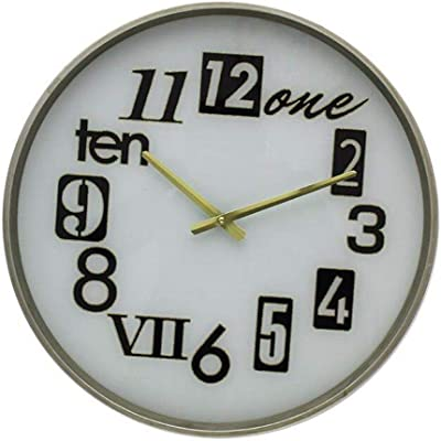 Imoerjia Wall Clock American Faux Marble Texture Living Room Clock Home Personalized Round, D.
