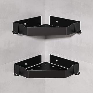 Tribesigns Lot de 2 étagères d'angle pour salle de bain - Sans perçage - Noir - En acier inoxydable
