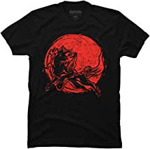 Design By Humans Red Sun Wolf Men's Graphic T Shirt