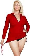 Ocean Road Swimwear Women's Plus Size Rash Guard Long Sleeve Swim Shirt Rashguard + 50UPF Ladies Swim Vest Black Red Blue