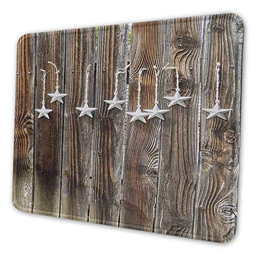 Primitive Country Printed Mouse Pad Silber Farbige verzierte Sterne auf Holz rustikalen Zaun Cabin Design Print Geeignet für Office Mouse Pad Braun Silber