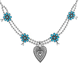 American West Sterling Silver Sleeping Beauty Turquoise & Heart Pendant Necklace - 18 Inch