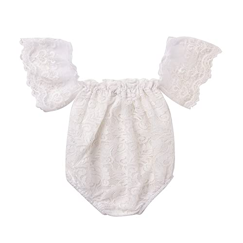 97d4dce2334 Mikrdoo Newborn Infant Baby Girl Flower White Lace Off Shoulder Romper  Jumpsuit Outfit Clothes