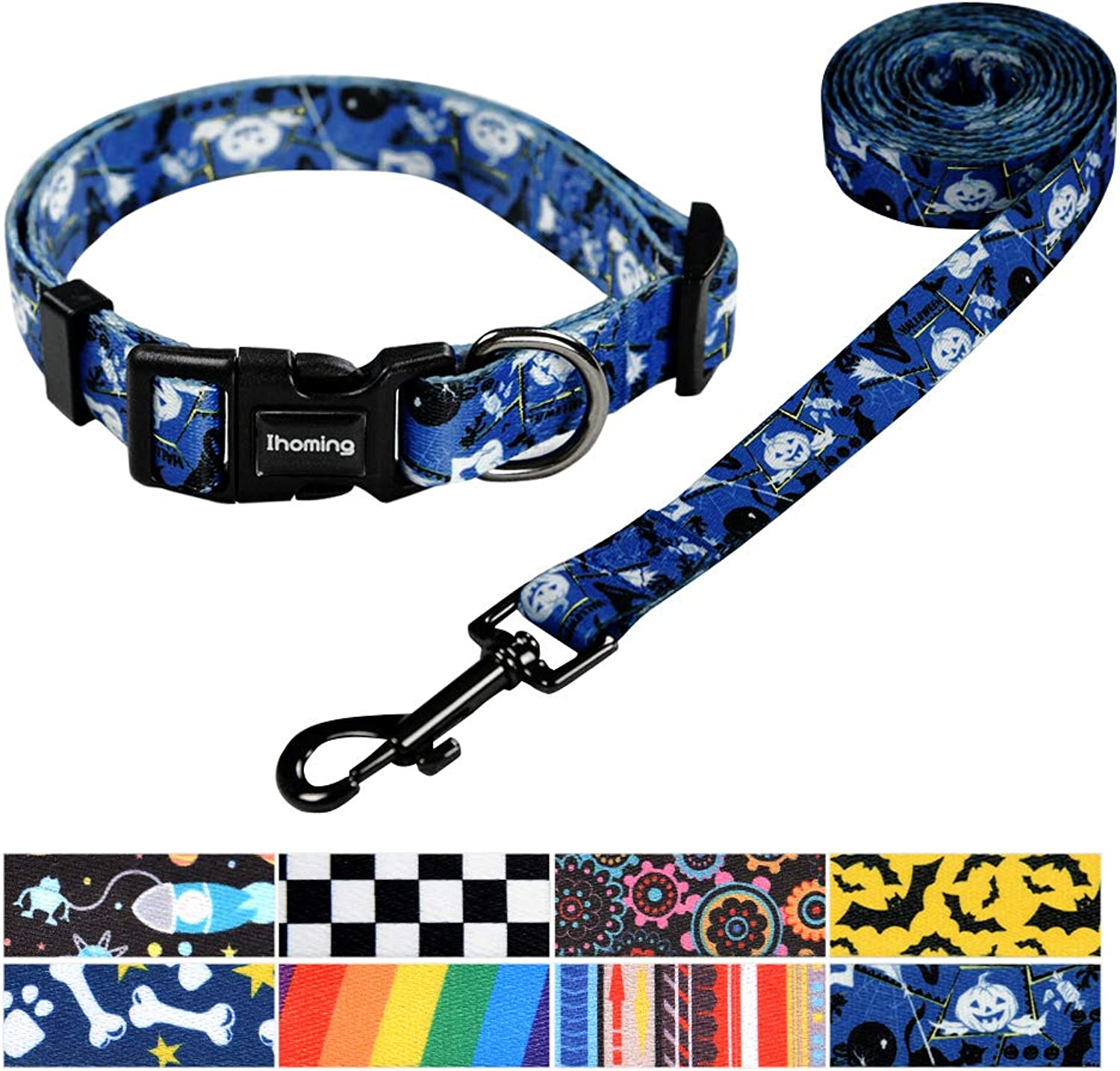 Ihoming Pet Collar Leash Set Halloween Pumpkin Combo Safety Set Daily Outdoor Walking Running Training Small Medium Large Dogs Cats bluee Black White Extra Small