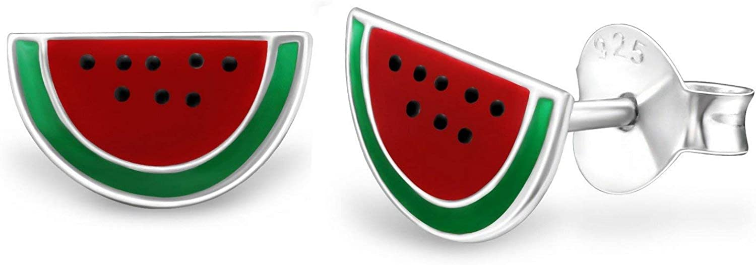 Sterling Silver Watermelon Epoxy Stud with Back Max half 86% OFF Earrings Push