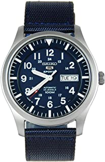Seiko 5 Men's Blue Dial Nylon Automatic Watch - SNZG11J1