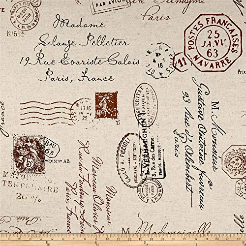 Richloom Fabrics Postscript Canvas Paris Fabric, Ruby