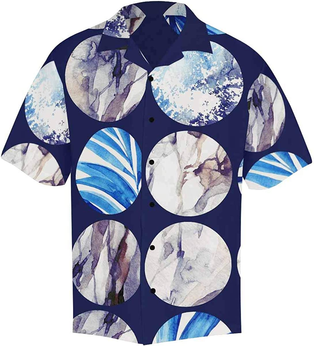 InterestPrint Men's Casual Button Down Short Sleeve Glittering Snowflakes Watercolor Circles Hawaiian Shirt (S-5XL)
