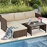 U-MAX 3 PCS Outdoor Rattan Furniture Sofa Set Lounge Chaise with Coffee Table Patio Garden Furniture Set, Brown Rattan with Tan Cushions