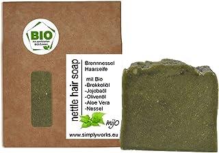 Mijo NETTLE Haarseife mit Brennnessel, Aloe Vera, Rosmarin, Bio Olivenöl, Naturseife ohne Palmöl, vegan ca. 100g