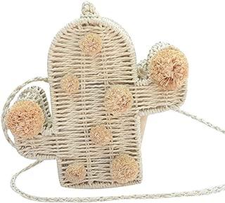 Fashion Handbags Cactus New One Shoulder Fashion Straw Bag Shoulder Bag (Color : Beige)