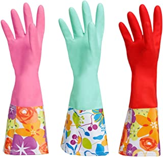 Dishwashing Rubber Gloves, Aixingyun Non-Slip Household Laundry Kitchen Cleaning Gloves, Reusable PU Waterproof Latex Gloves (Large, 3-Pairs)