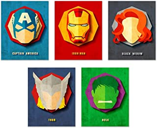 Infinity Creations Avengers Superheros Set of 5: Captain America, Iron Man, Black Widow, Thor, and Hulk, Unframed Poster Prints (8