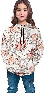Boys Girls Hoodies Pullover Unisex 3D Elegant Flower Fruit Vine Print Sweatshirts Hooded with Pocket 6-16Y