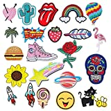 QincLing 23 Pieces Iron On Patches, Embroidery Applique Patches Stickers Flowers Sew On