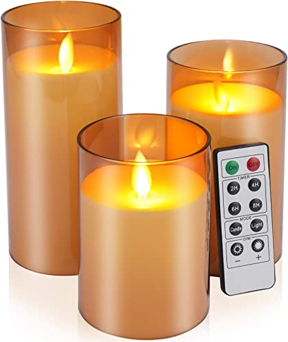 """2021 Flickering Flameless Candles Battery Operated Candles outlet sale Imitation glass Candles with Remote Acrylic Cycling Timer 24 Hours Pack of 3(D:3""""x H:4""""5""""6"""")LED Candles online Large Pillar Candles(Dark Brown) online"""