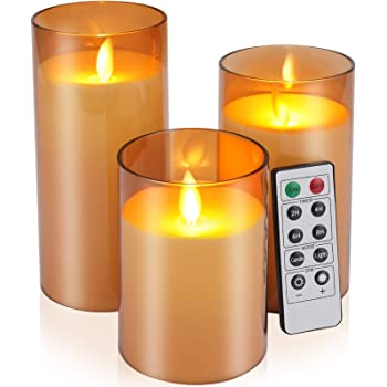 """Flickering Flameless Candles Battery Operated Candles Unbreakable Glass Candles with Remote Cycling Timer 24 Hours Pack of 3(D:3""""x H:4""""5""""6"""")LED Candles Large Pillar Candles(Dark Brown)"""