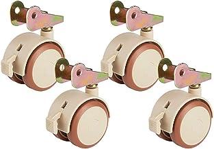 4 stks Meubilair Caster, Mute met Rem Lock Universal Wheel, Flip Wheel, 2 inches, Kinderbed Kruk Castor Wheels Sterke lade...