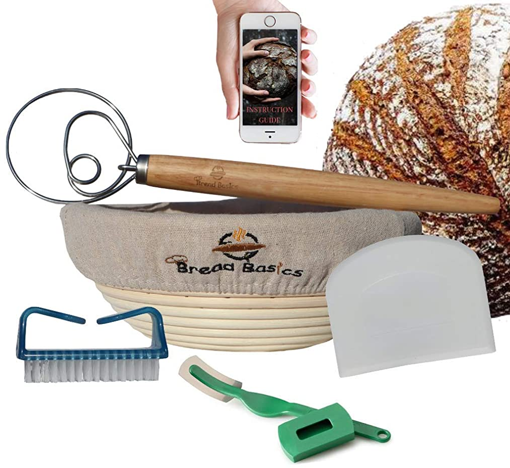 BreadBasics Banneton Proofing Basket | Premium Homemade Bread Starter Kit for Beginners | Includes Step by Step eBook, Bowl Scraper & Whisk, Lame, Brotform Liner, Cleaning Brush | Sourdough Supplies