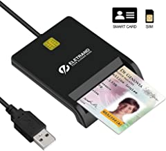 Eletrand USB 2.0 Inteligentes Lector de Tarjetas | DNI Electrónico Lector | Tarjetas DOD y CAC Adaptador | Compatible con Windows, Mac OS | Plug & Play, Eingebautes 92CM Kabel, Schwarz