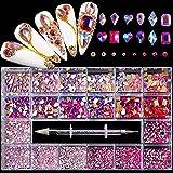 Nail Art Rhinestones Kit Acrílico En Caja 21 Grids Tamaño Mixto Set 1pc Pick Up Pen Grandes Decoraciones Cristal 3D Flat Gem-FVST21-08