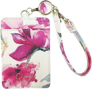 GISELLE パスケース リール付き 定期入れ IDケース 社員証 学生証 ICカードケース カードケース レディース 両面 ストラップ付 通勤 通学 名入れ イニシャル 花柄