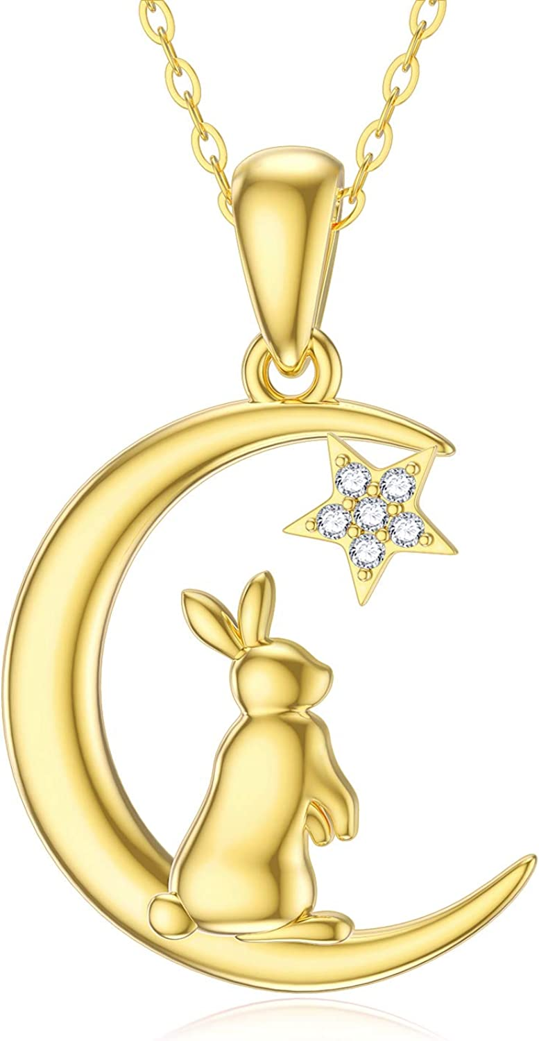 14K Solid Gold Cat Necklaces New Orleans Direct sale of manufacturer Mall Dain Women Moissanite for