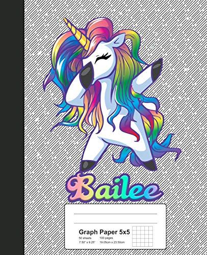 Graph Paper 5x5: BAILEE Unicorn Rainbow Notebook (Weezag Graph Paper 5x5 Notebook, Band 450)