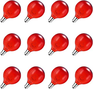 DORESshop G50 Dimmable Red Color Globe Light Bulbs, 40W G50 Antique Vintage Edison Globe Replacement String Lights Bulb, E12 Base for Party, Halloween, Christmas, Valentine's Day Decor, 12Pack