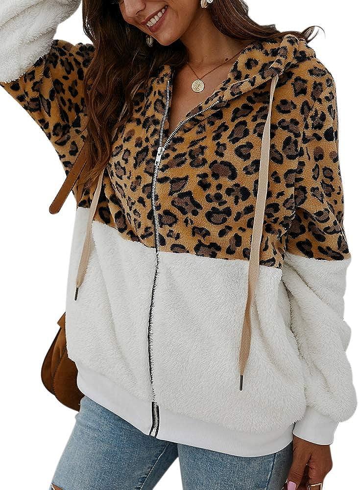 GLIENST Womens Fuzzy Fleece Zipper Hooded Jacket Patchwork Leopard Sherpa Sweatshirt Coat Outwear with Pockets