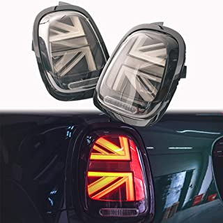 PGONE 2pc 3D Optic Smoked Lens Union Jack UK Flag Design LED Rear Taillights Tail Brake Lamps Assembly For Mini cooper F55 F56 2014 2015 2016 2017 2018 (Smoked Lens Union Jack UK Flag)